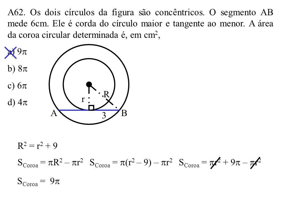 A61. Um semicírculo de diâmetro AB está inscrito no trapézio retângulo de bases 9 e 4, conforme a figura. Sendo P o ponto de tangência, a área do trap