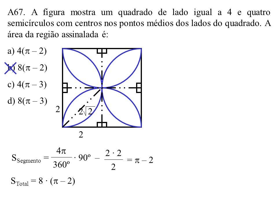 A66. Na figura, o ponto P está a 6cm do centro do círculo. Se PA e PB são tangentes a ele e formam um ângulo de 60º, o valor da área assinalada é, em