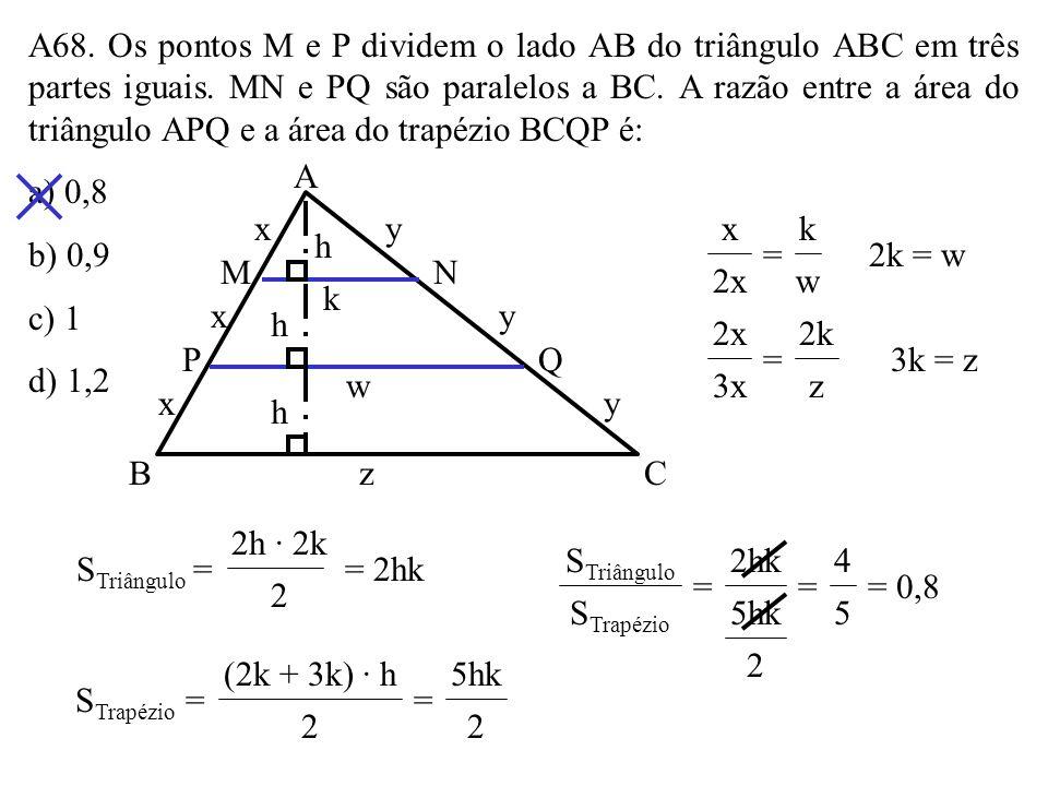 A67. A figura mostra um quadrado de lado igual a 4 e quatro semicírculos com centros nos pontos médios dos lados do quadrado. A área da região assinal
