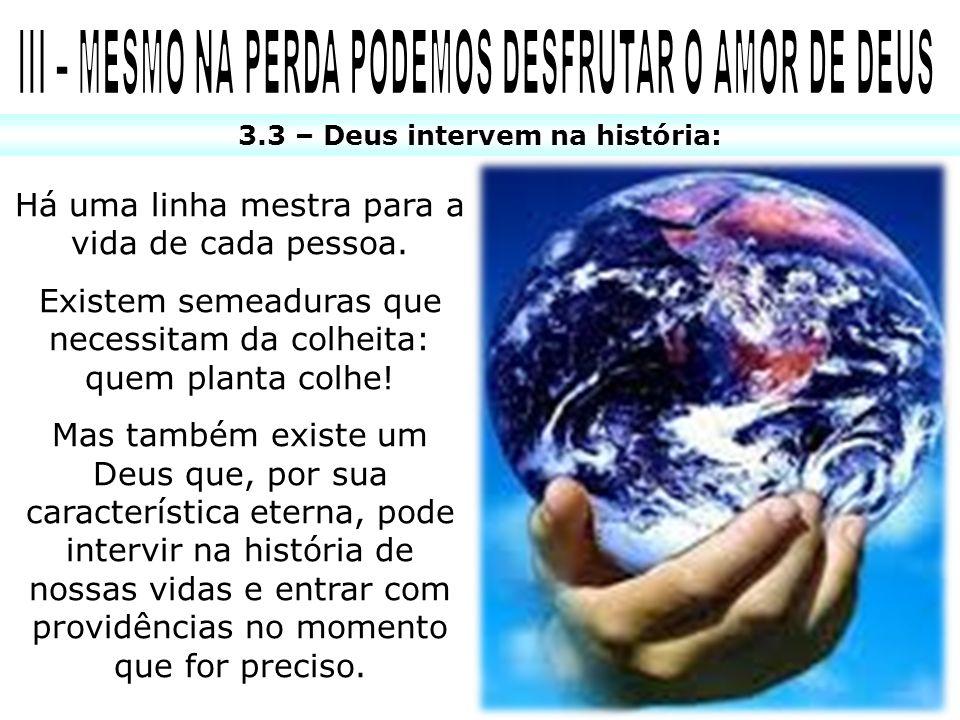 3.3 – Deus intervem na história: Há uma linha mestra para a vida de cada pessoa. Existem semeaduras que necessitam da colheita: quem planta colhe! Mas