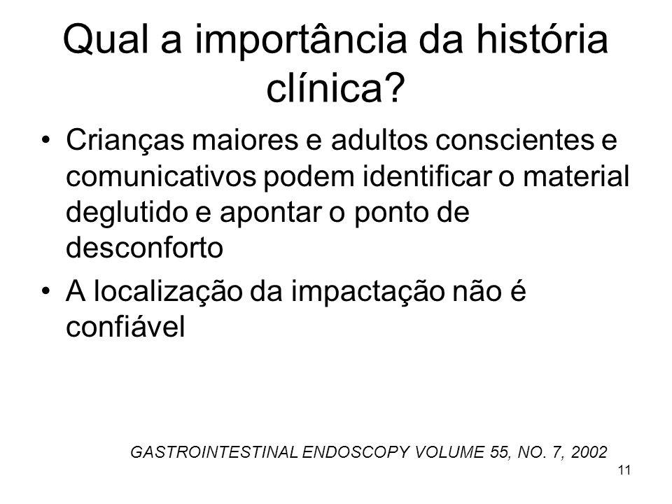 Qual a importância da história clínica? Crianças maiores e adultos conscientes e comunicativos podem identificar o material deglutido e apontar o pont