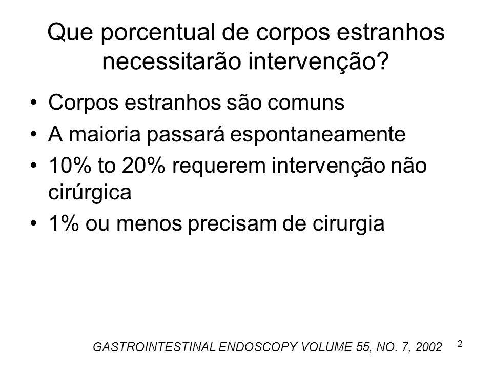 Que porcentual de corpos estranhos necessitarão intervenção? Corpos estranhos são comuns A maioria passará espontaneamente 10% to 20% requerem interve
