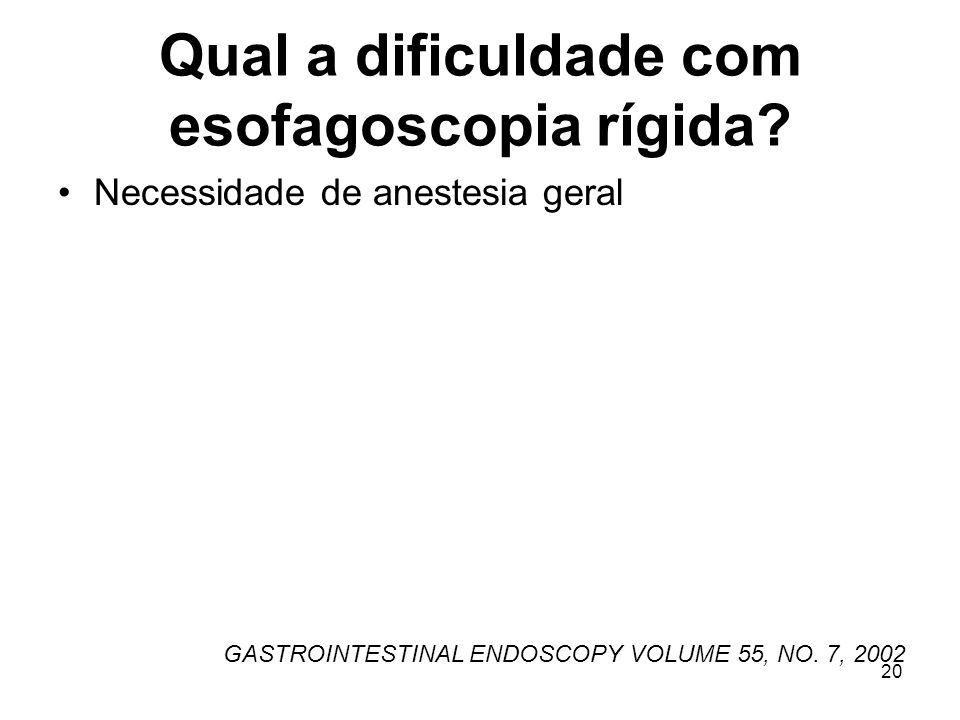 Qual a dificuldade com esofagoscopia rígida? Necessidade de anestesia geral GASTROINTESTINAL ENDOSCOPY VOLUME 55, NO. 7, 2002 20