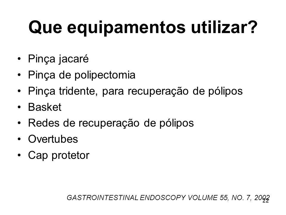Que equipamentos utilizar? Pinça jacaré Pinça de polipectomia Pinça tridente, para recuperação de pólipos Basket Redes de recuperação de pólipos Overt