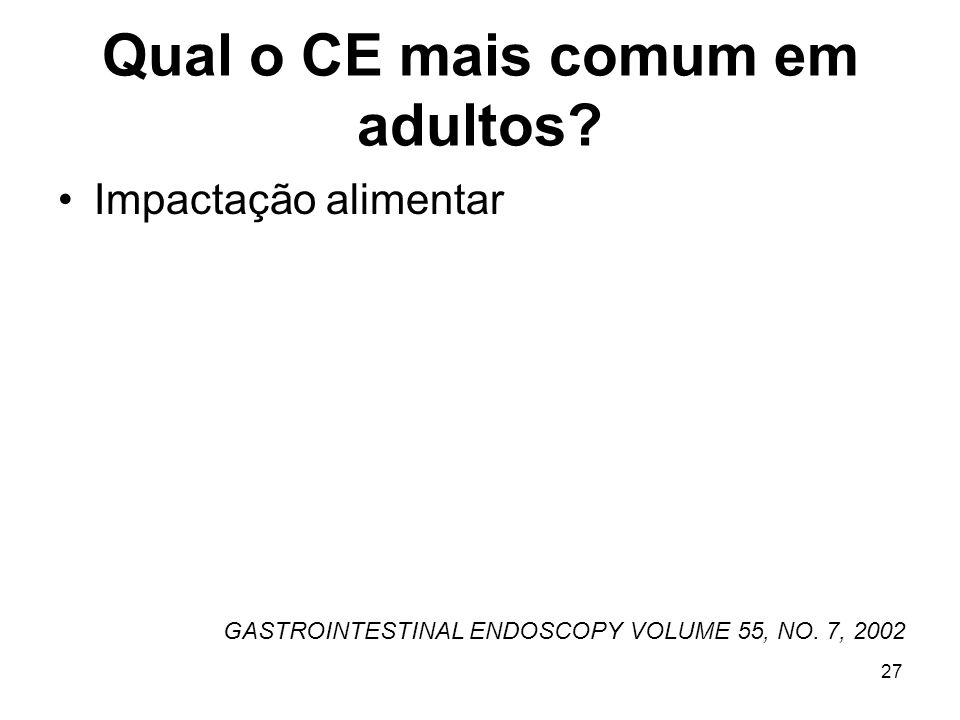 Qual o CE mais comum em adultos? Impactação alimentar GASTROINTESTINAL ENDOSCOPY VOLUME 55, NO. 7, 2002 27