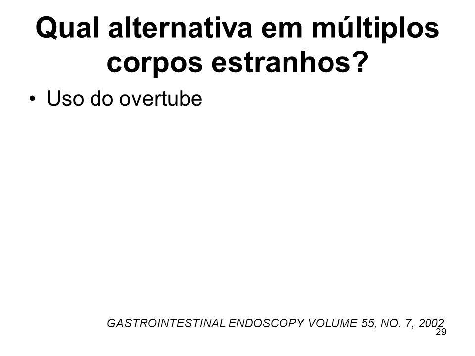 Qual alternativa em múltiplos corpos estranhos? Uso do overtube GASTROINTESTINAL ENDOSCOPY VOLUME 55, NO. 7, 2002 29