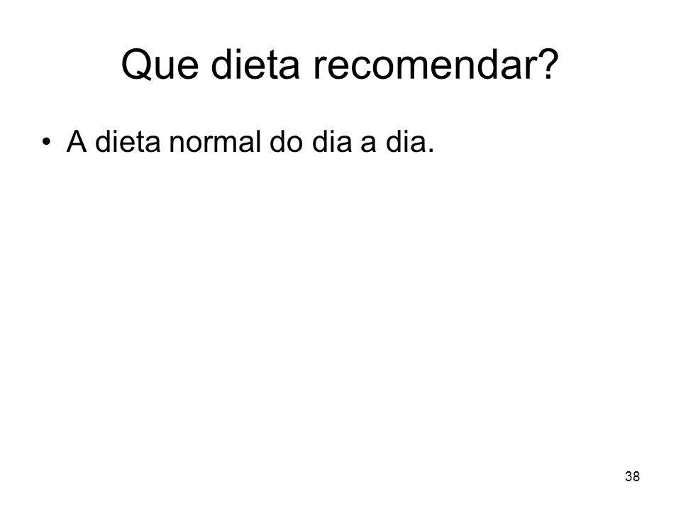 Que dieta recomendar? A dieta normal do dia a dia. 38
