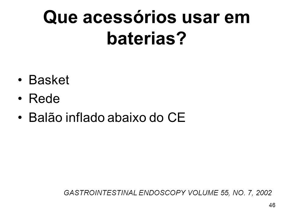 Que acessórios usar em baterias? Basket Rede Balão inflado abaixo do CE GASTROINTESTINAL ENDOSCOPY VOLUME 55, NO. 7, 2002 46