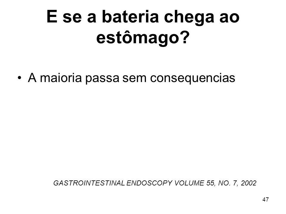 E se a bateria chega ao estômago? A maioria passa sem consequencias GASTROINTESTINAL ENDOSCOPY VOLUME 55, NO. 7, 2002 47