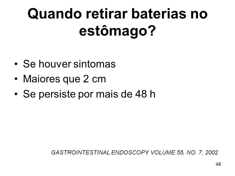 Quando retirar baterias no estômago? Se houver sintomas Maiores que 2 cm Se persiste por mais de 48 h GASTROINTESTINAL ENDOSCOPY VOLUME 55, NO. 7, 200