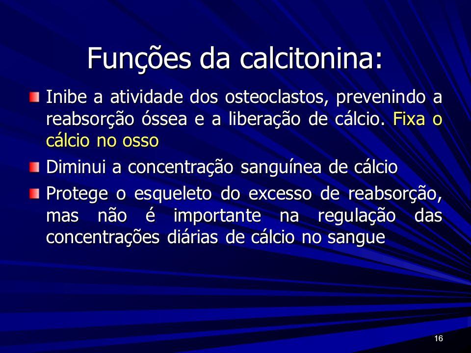 16 Funções da calcitonina: Inibe a atividade dos osteoclastos, prevenindo a reabsorção óssea e a liberação de cálcio. Fixa o cálcio no osso Diminui a