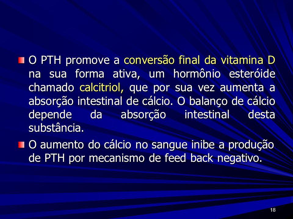 18 O PTH promove a conversão final da vitamina D na sua forma ativa, um hormônio esteróide chamado calcitriol, que por sua vez aumenta a absorção inte