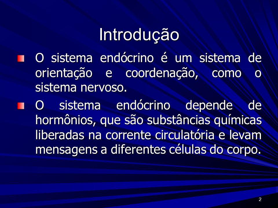2 Introdução O sistema endócrino é um sistema de orientação e coordenação, como o sistema nervoso. O sistema endócrino depende de hormônios, que são s