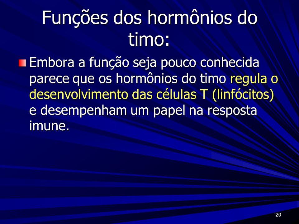 20 Funções dos hormônios do timo: Embora a função seja pouco conhecida parece que os hormônios do timo regula o desenvolvimento das células T (linfóci