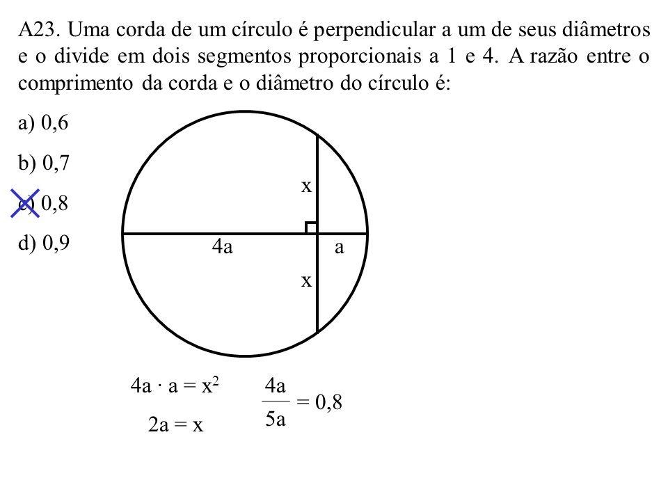 A22. Na figura, 0 é o centro do círculo. Seu raio mede: a) 3 3 b) 2 3 c) 4,5 d) 5 0 3 3 6 x 3 + x 6 · 3 = (6 + x) · x 18 = 6x + x 2 x 2 + 6x – 18 x =