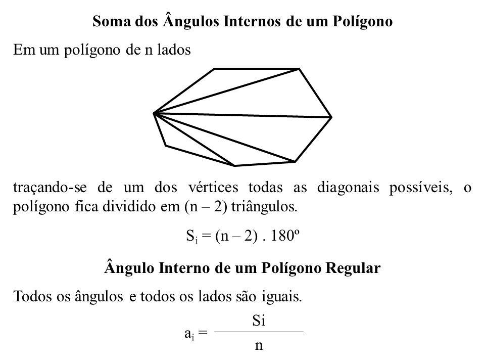 Número de Diagonais de um Polígono Convexo n Seja n o número de vértices; n (n – 3) Cada vértice faz ligação com todos os outros n vértices, menos com seus adjacentes e ele próprio, ou seja, com (n – 3) vértices; nn.(n – 3) Como há n vértices, então podemos fazer n.(n – 3) ligações; A C