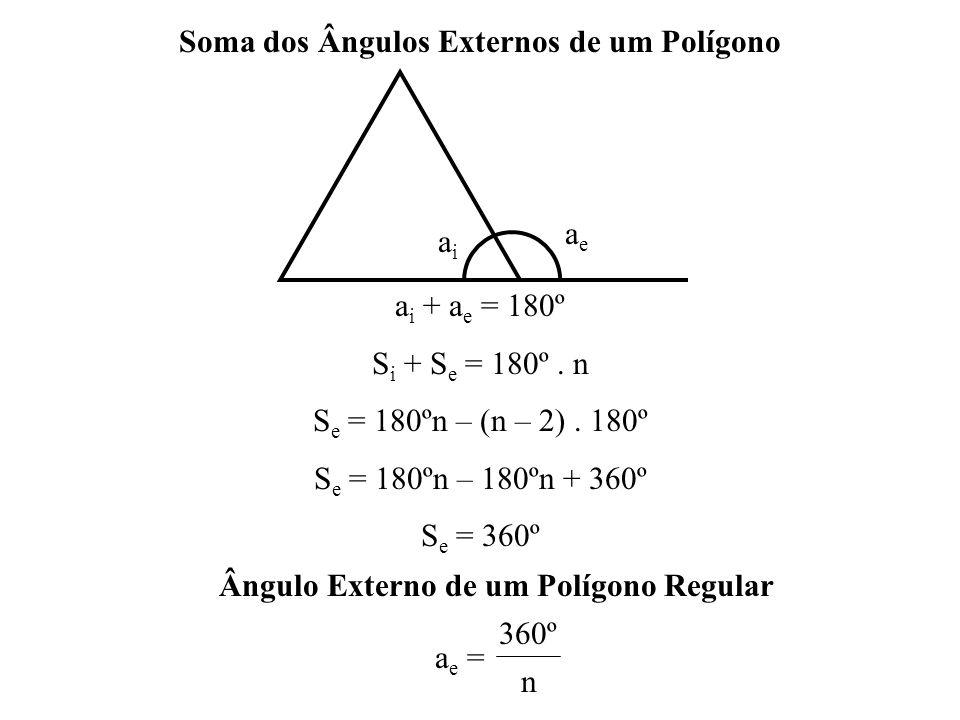 Soma dos Ângulos Internos de um Polígono Em um polígono de n lados traçando-se de um dos vértices todas as diagonais possíveis, o polígono fica dividido em (n – 2) triângulos.