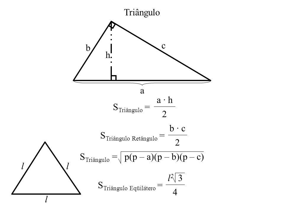 r 2p Círculo = 2 r S Disco = · r · r r r R r S Coroa = (R 2 – r 2 ) S Segmento = S Setor – S Triângulo Segmento Circular Disco Setor Circular Coroa Circular S Setor = · r 2 360º · S Disco = r 2