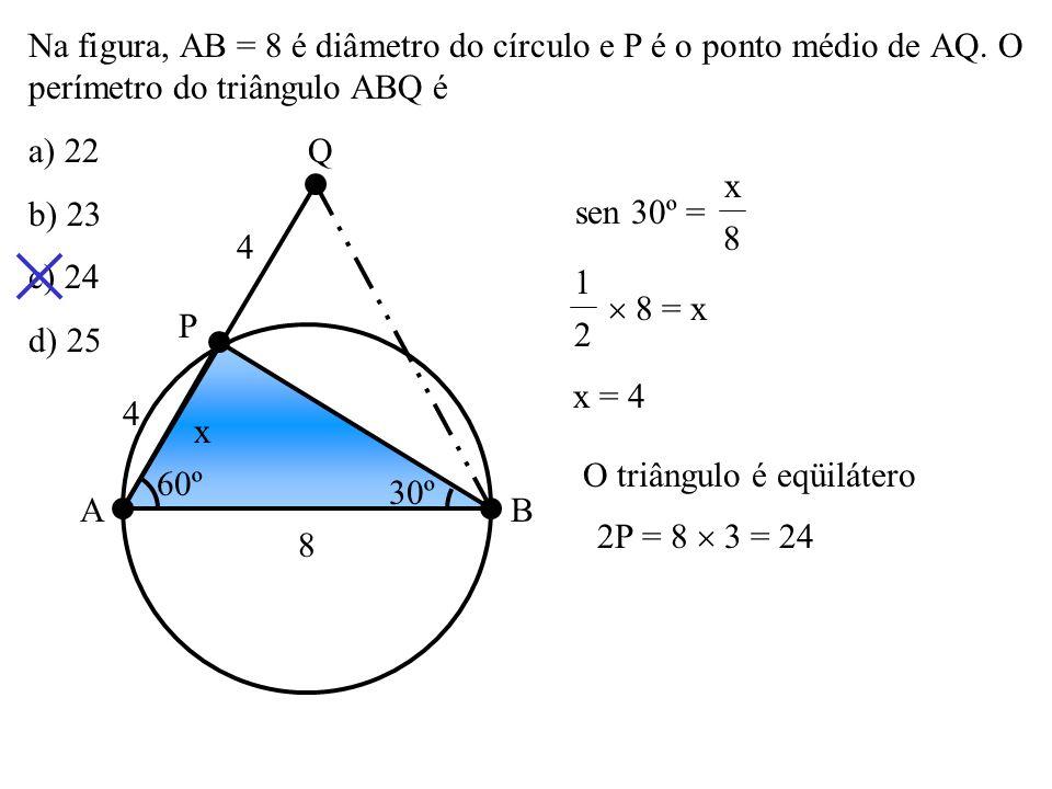 As retas r e s da figura tangenciam o círculo em A e B. Então a medida x do ângulo assinalado é: a) 60º b) 65º c) 70º d) 75º P A B s r x 50º 2x 65º 2x