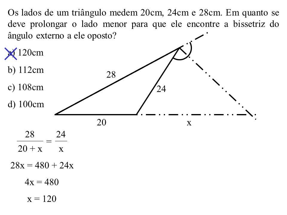 O triângulo ABC é isósceles, de base AC. Se AM é bissetriz interna, o valor de x é: a) 13 b) 12 c) 10 d) 9 A B M C x 4 6 x – 4 x = 6 4 4x = 6x – 24 2x