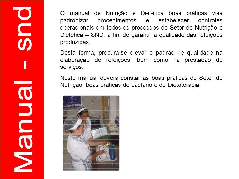 O manual de Nutrição e Dietética boas práticas visa padronizar procedimentos e estabelecer controles operacionais em todos os processos do Setor de Nu
