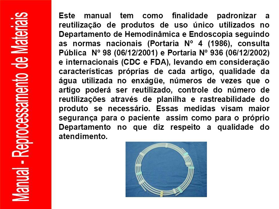 Este manual tem como finalidade padronizar a reutilização de produtos de uso único utilizados no Departamento de Hemodinâmica e Endoscopia seguindo as