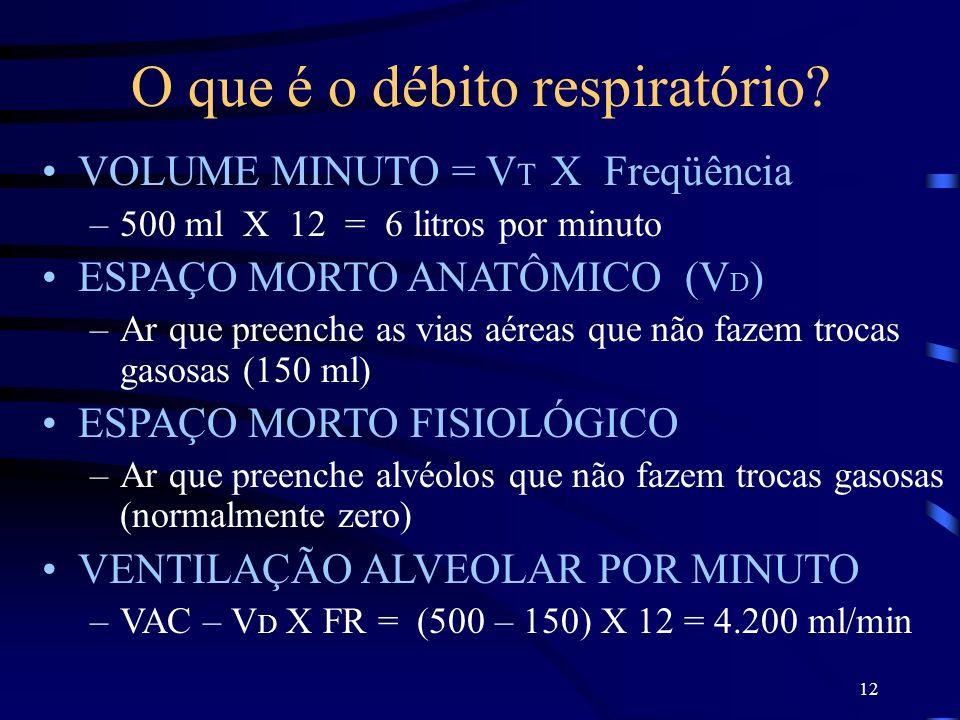 12 O que é o débito respiratório? VOLUME MINUTO = V T X Freqüência –500 ml X 12 = 6 litros por minuto ESPAÇO MORTO ANATÔMICO (V D ) –Ar que preenche a
