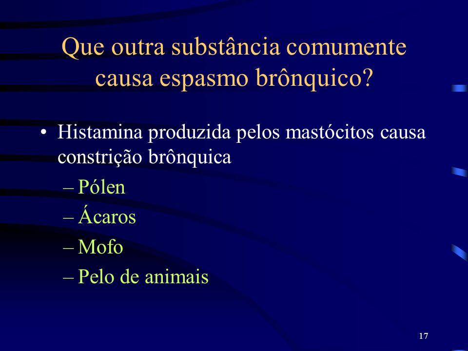 17 Que outra substância comumente causa espasmo brônquico? Histamina produzida pelos mastócitos causa constrição brônquica –Pólen –Ácaros –Mofo –Pelo