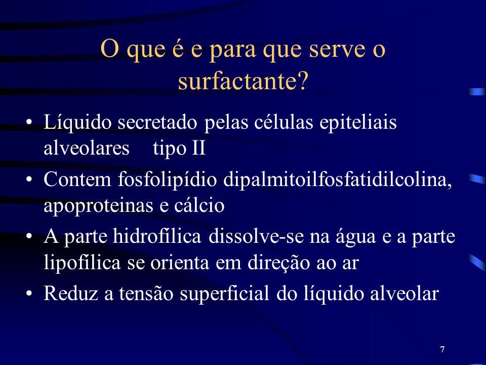 7 O que é e para que serve o surfactante? Líquido secretado pelas células epiteliais alveolares tipo II Contem fosfolipídio dipalmitoilfosfatidilcolin