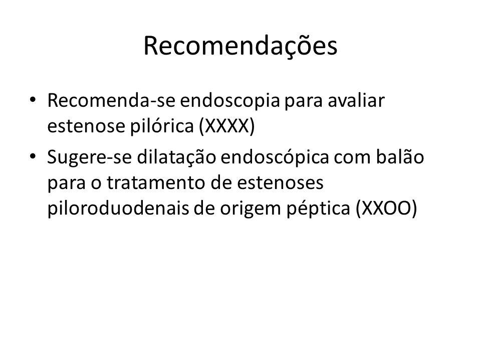 Recomendações Recomenda-se endoscopia para avaliar estenose pilórica (XXXX) Sugere-se dilatação endoscópica com balão para o tratamento de estenoses p