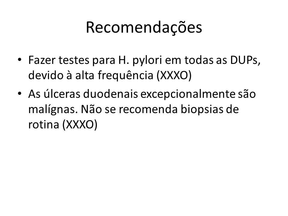 Recomendações Não se recomenda EDA para úlceras duodenais não complicadas identificadas no REED (XXXO) Sugere-se seguimento endoscópico em pacientes com UD com sintomas persistentes apesar do tratamento, para afastar DUPs refratárias ou etiologias não pépticas (XXOO)