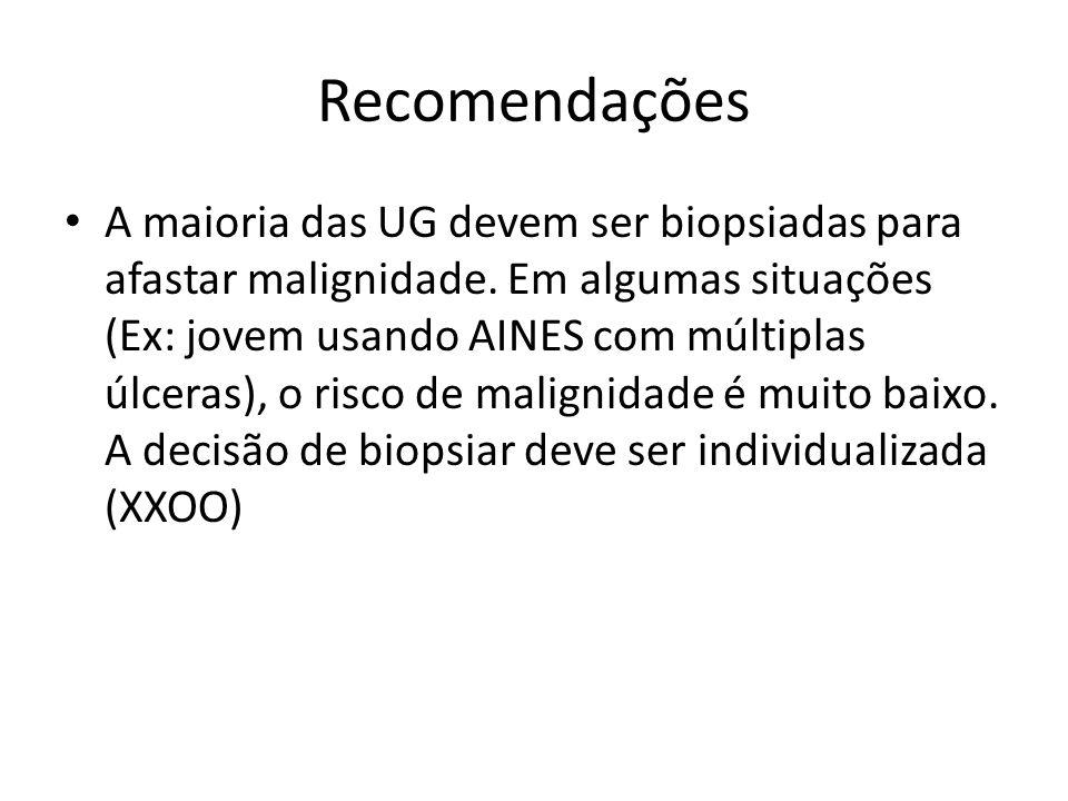 Recomendações A maioria das UG devem ser biopsiadas para afastar malignidade. Em algumas situações (Ex: jovem usando AINES com múltiplas úlceras), o r