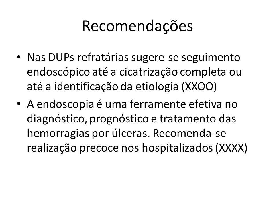 Recomendações Nas DUPs refratárias sugere-se seguimento endoscópico até a cicatrização completa ou até a identificação da etiologia (XXOO) A endoscopia é uma ferramente efetiva no diagnóstico, prognóstico e tratamento das hemorragias por úlceras.
