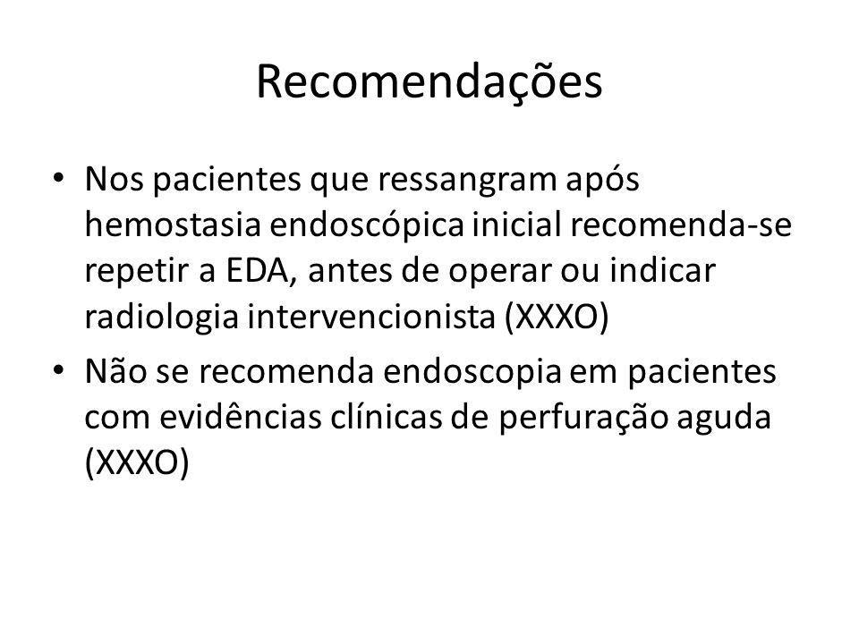 Recomendações Nos pacientes que ressangram após hemostasia endoscópica inicial recomenda-se repetir a EDA, antes de operar ou indicar radiologia intervencionista (XXXO) Não se recomenda endoscopia em pacientes com evidências clínicas de perfuração aguda (XXXO)