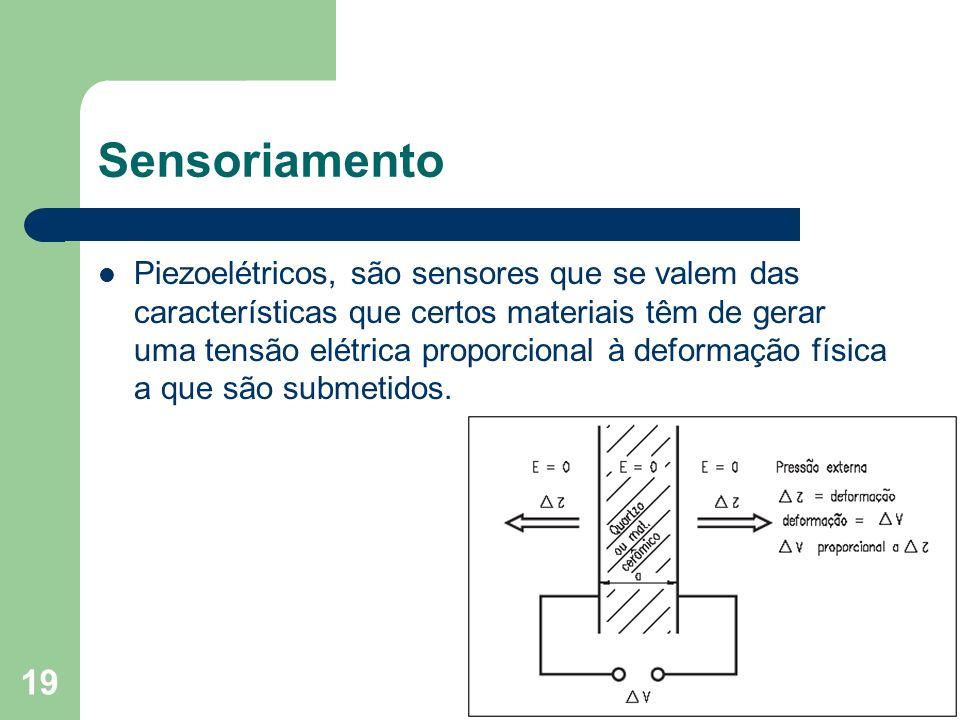 19 Sensoriamento Piezoelétricos, são sensores que se valem das características que certos materiais têm de gerar uma tensão elétrica proporcional à de