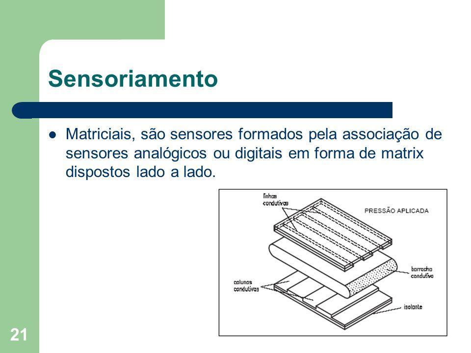 21 Sensoriamento Matriciais, são sensores formados pela associação de sensores analógicos ou digitais em forma de matrix dispostos lado a lado.