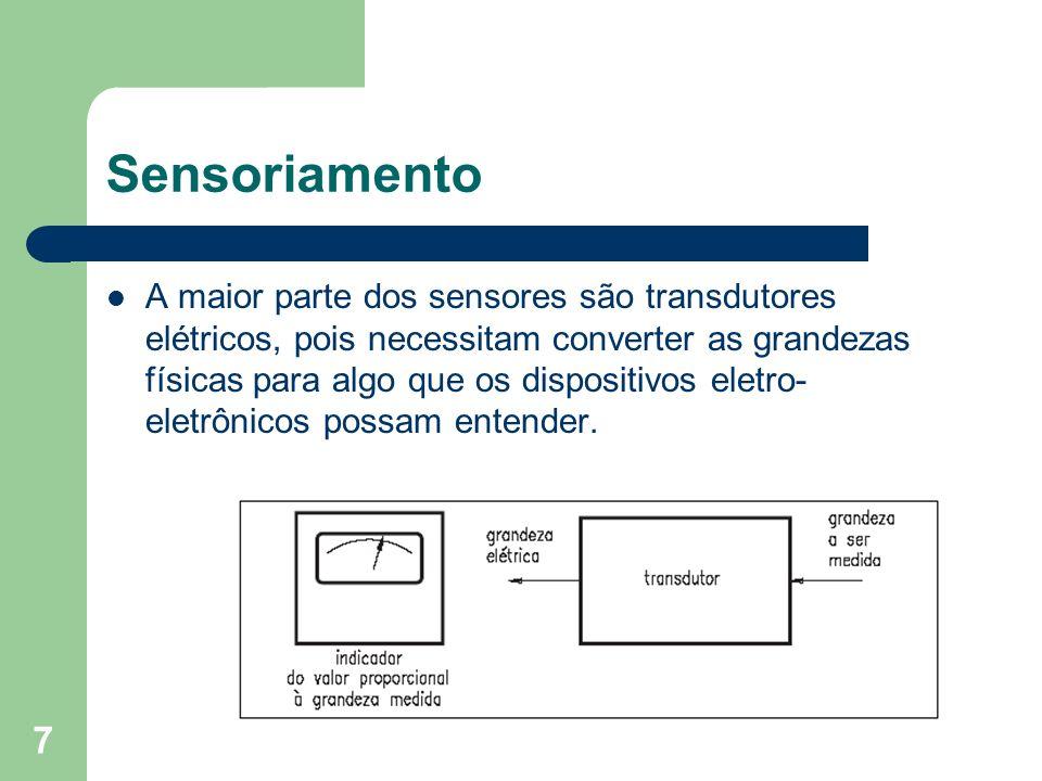 7 Sensoriamento A maior parte dos sensores são transdutores elétricos, pois necessitam converter as grandezas físicas para algo que os dispositivos el