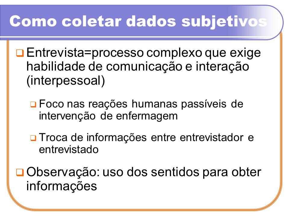 Como coletar dados subjetivos Entrevista=processo complexo que exige habilidade de comunicação e interação (interpessoal) Foco nas reações humanas pas