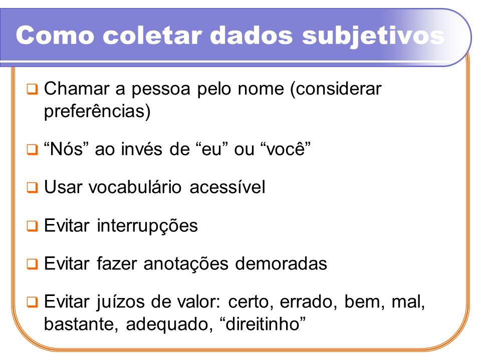 Como coletar dados subjetivos Chamar a pessoa pelo nome (considerar preferências) Nós ao invés de eu ou você Usar vocabulário acessível Evitar interru