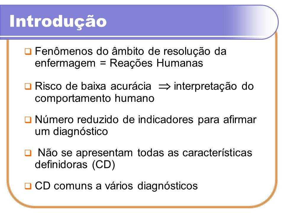 Introdução Fenômenos do âmbito de resolução da enfermagem = Reações Humanas Risco de baixa acurácia interpretação do comportamento humano Número reduz