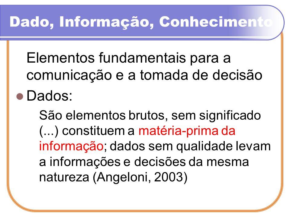 Dado, Informação, Conhecimento Informações: Dado organizado que fornece a base para o processo de decisão; são dados com significado; são dados contextualizados que visam fornecer uma solução para determinada situação de decisão; a matéria-prima para se obter conhecimento