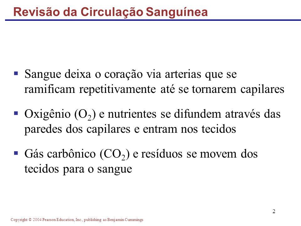Copyright © 2004 Pearson Education, Inc., publishing as Benjamin Cummings 2 Revisão da Circulação Sanguínea Sangue deixa o coração via arterias que se