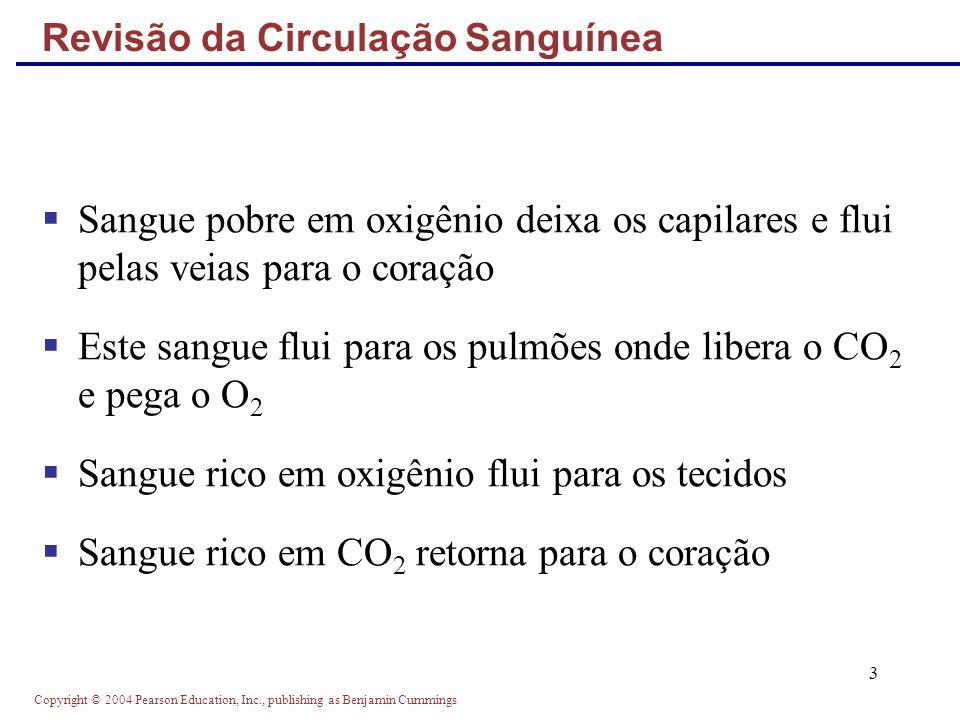 Copyright © 2004 Pearson Education, Inc., publishing as Benjamin Cummings 3 Revisão da Circulação Sanguínea Sangue pobre em oxigênio deixa os capilare