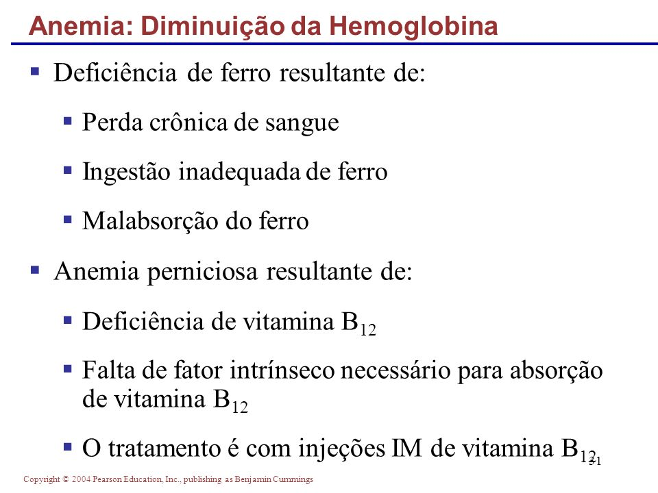 Copyright © 2004 Pearson Education, Inc., publishing as Benjamin Cummings 31 Deficiência de ferro resultante de: Perda crônica de sangue Ingestão inad