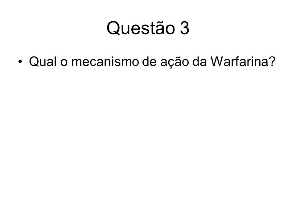 Questão 3 Qual o mecanismo de ação da Warfarina?