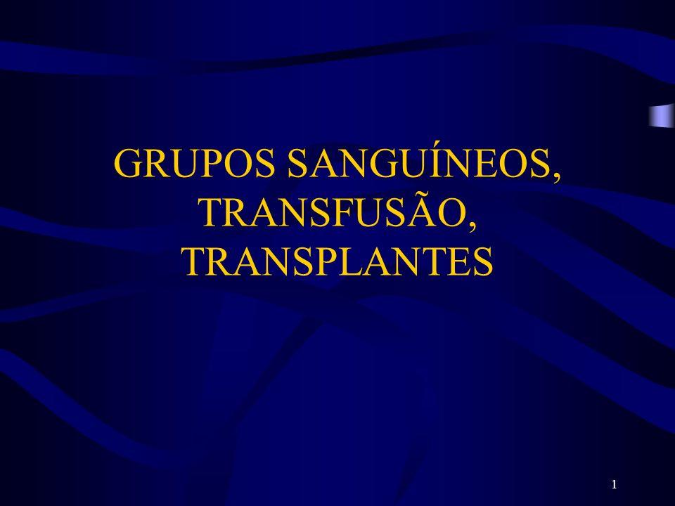 1 GRUPOS SANGUÍNEOS, TRANSFUSÃO, TRANSPLANTES