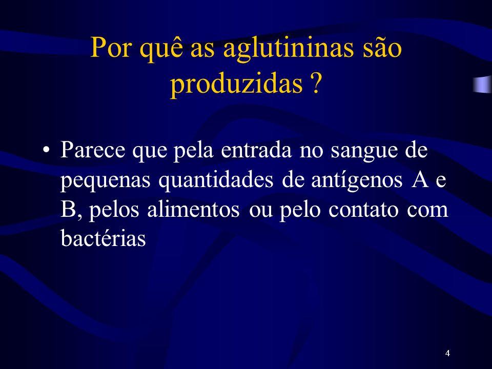 4 Por quê as aglutininas são produzidas ? Parece que pela entrada no sangue de pequenas quantidades de antígenos A e B, pelos alimentos ou pelo contat