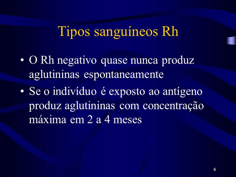 6 Tipos sanguíneos Rh O Rh negativo quase nunca produz aglutininas espontaneamente Se o indivíduo é exposto ao antígeno produz aglutininas com concent
