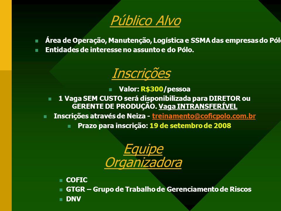 Público Alvo Área de Operação, Manutenção, Logística e SSMA das empresas do Pólo.