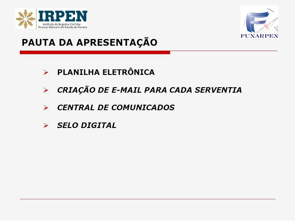 PLANILHA ELETRÔNICA CRIAÇÃO DE E-MAIL PARA CADA SERVENTIA CENTRAL DE COMUNICADOS SELO DIGITAL PAUTA DA APRESENTAÇÃO